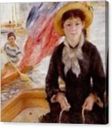 Woman In Boat With Canoeist Canvas Print