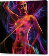 Woman In Colorful Body Paint With Light Streaks Canvas Print