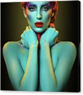 Woman In Cyan Body Paint With Curly Hairstyle Canvas Print