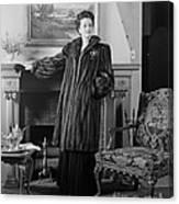 Woman In Fur Coat, C.1940s Canvas Print