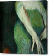 Woman In Green Canvas Print
