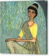 Woman In Grey And Yellow Sari Under Tree Canvas Print