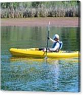 Woman In Kayak Canvas Print