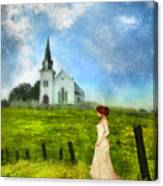 Woman In Lace By A Country Church Canvas Print