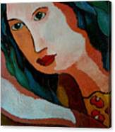 Woman In Orange And Blue Canvas Print