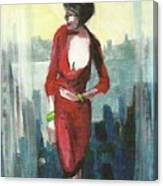 Woman In Red Dress By Condo Window Canvas Print