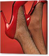 Woman In Red High Heel Shoes Canvas Print