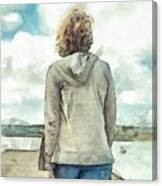 Woman In Rustico Harbor Prince Edward Island Canvas Print