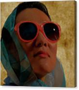Woman In Scarf And Sunglasses Canvas Print