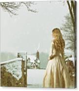 Woman In Snow Scene Canvas Print