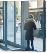 Woman In Storefront Canvas Print