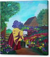 Woman In The Garden Canvas Print