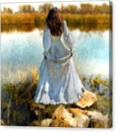 Woman In Victorian Dress By Water Canvas Print