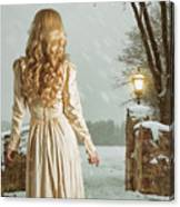 Woman In Winter Scene Canvas Print