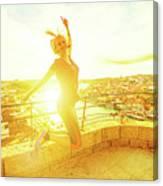 Woman Jumping At Oporto Canvas Print