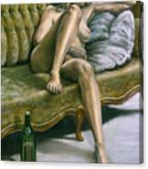 Woman On Green Sofa Canvas Print