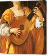 Woman Playing A Lute Canvas Print