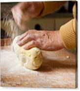 Woman Preparing Dough For Kopytka Canvas Print