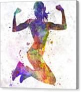 Woman Runner Jogger Jumping Powerful Canvas Print