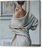 Woman Sat In A Gallery Canvas Print
