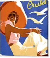 Woman Sitting On A Cruising Ship Canvas Print