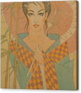 Woman Under The Bamboo Umbrella Canvas Print