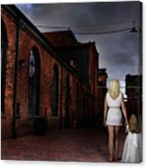 Woman Walking Away With A Child Canvas Print