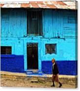 Woman Walking By The Blue House Canvas Print
