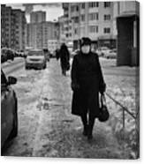 Woman Walking On Path In Russia Canvas Print