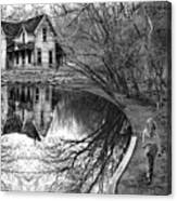 Woman Walking To Old House Canvas Print