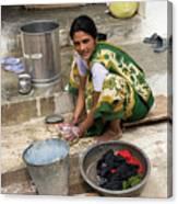 Woman Washing Clothes In Khajuraho Village Canvas Print