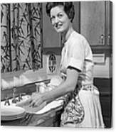 Woman Washing Dishes, C.1960s Canvas Print