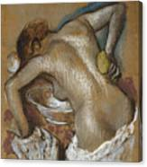 Woman Washing Her Back With A Sponge Canvas Print