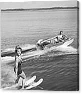Woman Water Skiing Canvas Print