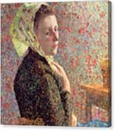 Woman Wearing A Green Headscarf Canvas Print