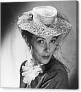 Woman Wearing A Hat & Veil Canvas Print