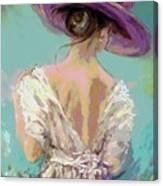 Woman Wearing A Purple Hat Canvas Print