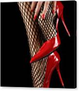 Woman Wearing Red Sexy High Heels Canvas Print