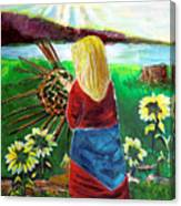 Woman Weaves A Basket By The Lake At Sunset Canvas Print