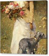 Woman With A Dog Canvas Print