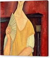 Woman With A Fan Painting By Amedeo Modigliani