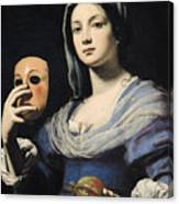 Woman With A Mask Canvas Print