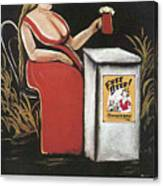 Woman With A Mug Of Beer Canvas Print