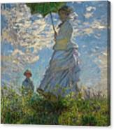 Woman With A Parasol, Madame Monet And Her Son, Claude Monet Digitally Enhanced Canvas Print