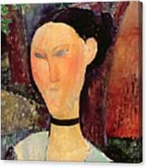 Woman With A Velvet Neckband Canvas Print