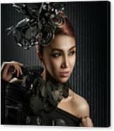 Woman With Black Metallic Headdress Canvas Print