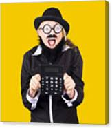 Woman With Electronic Calculator Canvas Print
