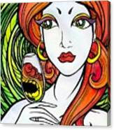 Woman With Glass Canvas Print