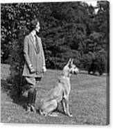 Woman With Great Dane, C.1920-30s Canvas Print