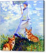 Woman With Parasol And Corgis After Monet Canvas Print